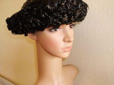ELEGANT VINTAGE GENUINE BERMONA BLACK SHINY RAFFIA UP BRIMMED HAT BONNET & BOW